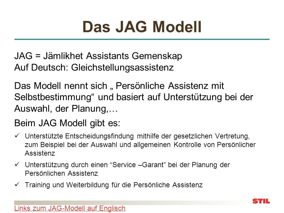 Das JAG Modell JAG = Jämlikhet Assistants Gemenskap Auf Deutsch: Gleichstellungsassistenz.