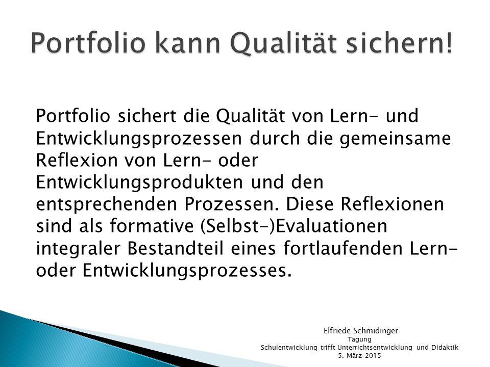 Portfolio kann Qualität sichern!