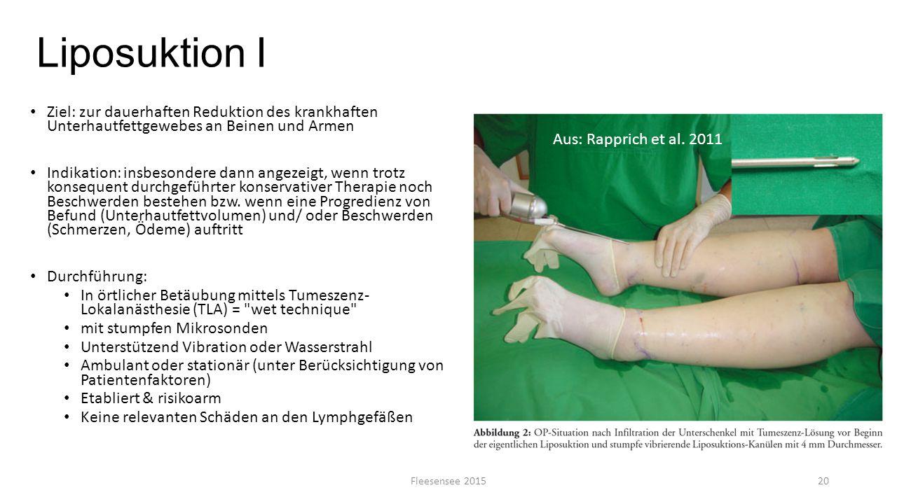 Liposuktion I Ziel: zur dauerhaften Reduktion des krankhaften Unterhautfettgewebes an Beinen und Armen.