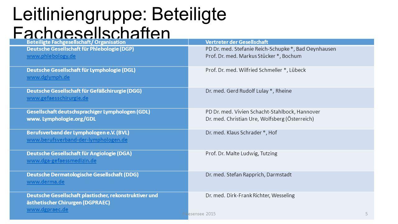 Leitliniengruppe: Beteiligte Fachgesellschaften