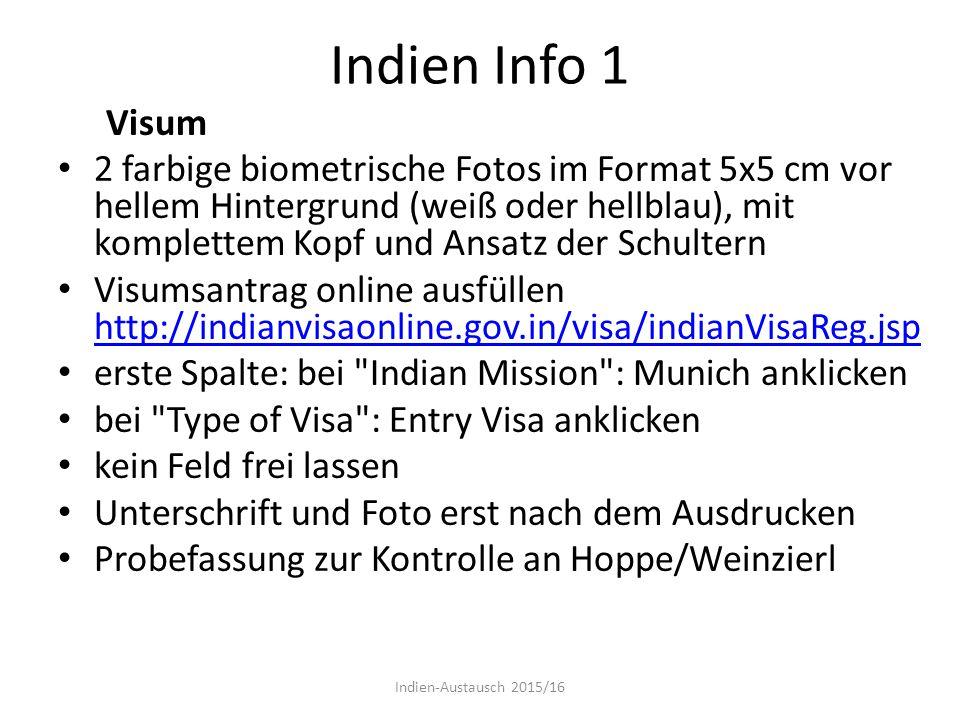 Indien Info 1 Visum.