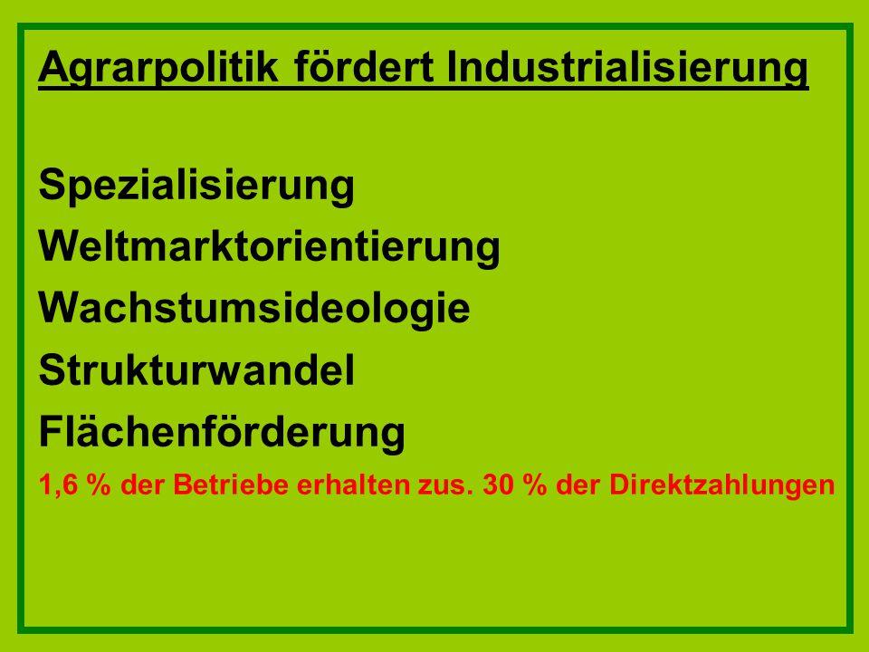 Agrarpolitik fördert Industrialisierung Spezialisierung