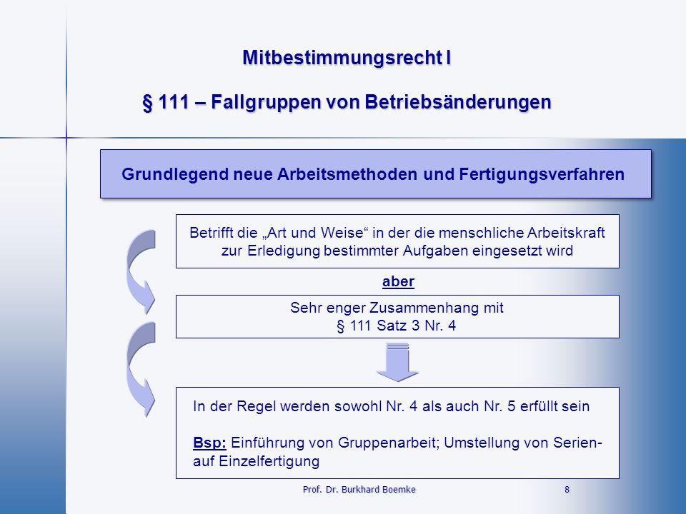 § 111 – Fallgruppen von Betriebsänderungen