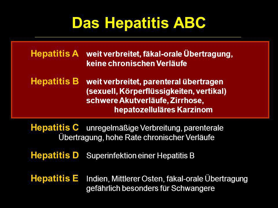 Das Hepatitis ABCHepatitis A weit verbreitet, fäkal-orale Übertragung, keine chronischen Verläufe.