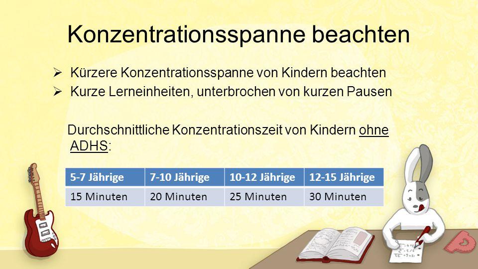 Konzentrationsspanne beachten