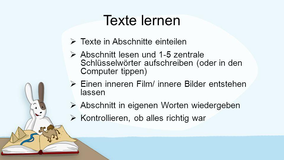 Texte lernen Texte in Abschnitte einteilen