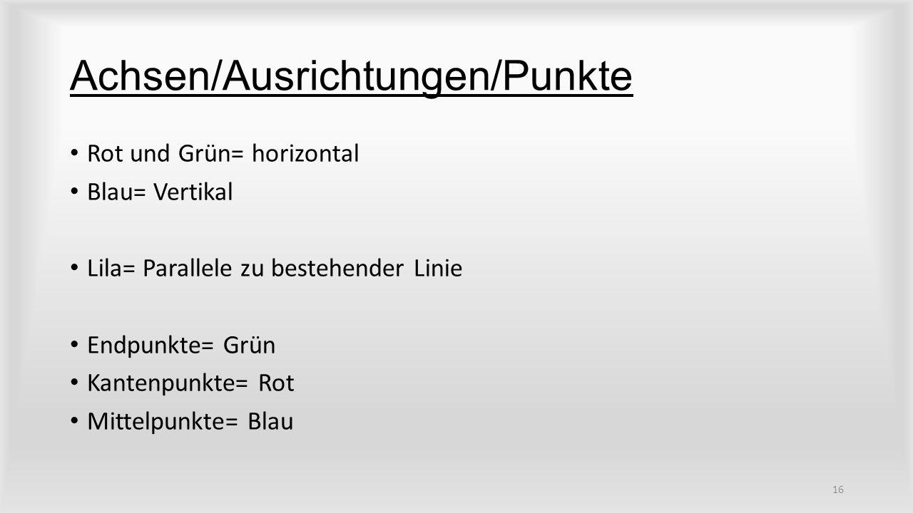 Achsen/Ausrichtungen/Punkte