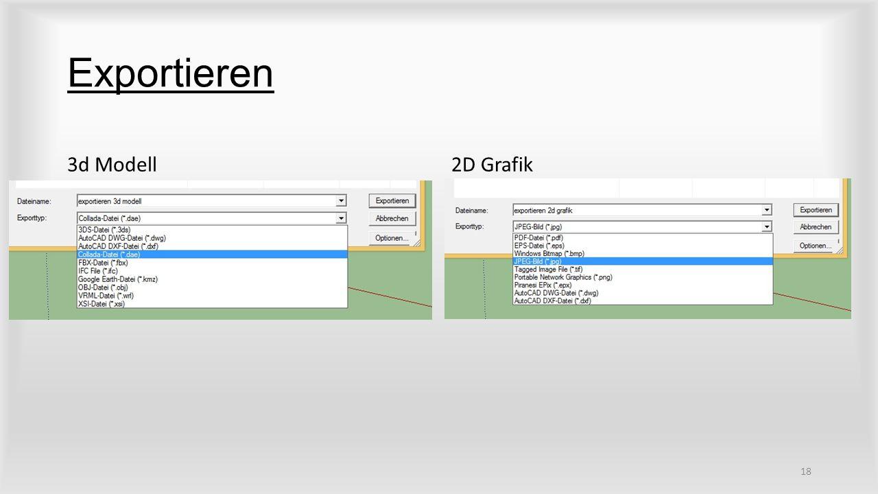 Exportieren 3d Modell 2D Grafik