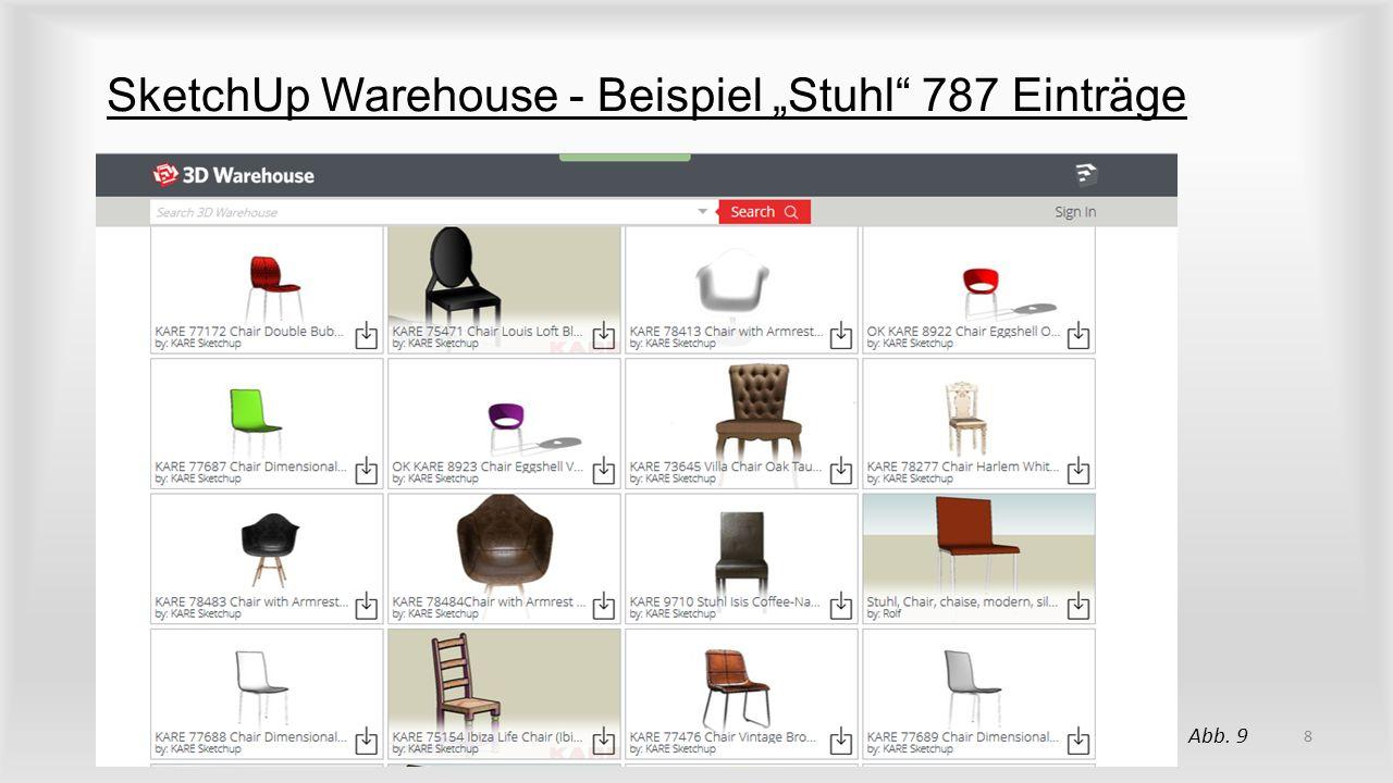 """SketchUp Warehouse - Beispiel """"Stuhl 787 Einträge"""