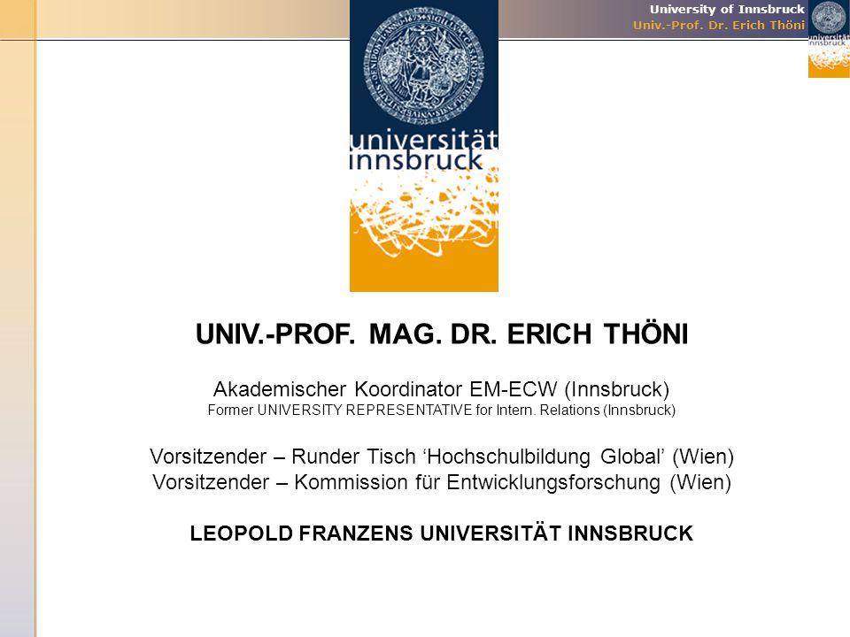 UNIV.-PROF. MAG. DR. ERICH THÖNI