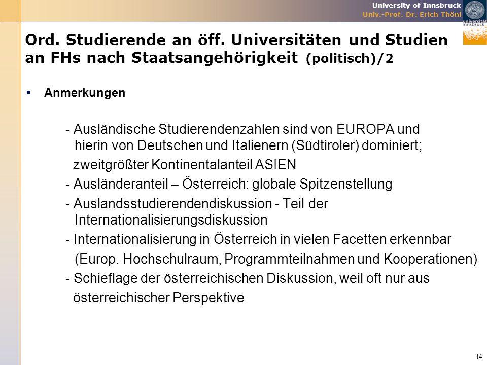 Ord. Studierende an öff. Universitäten und Studien an FHs nach Staatsangehörigkeit (politisch)/2