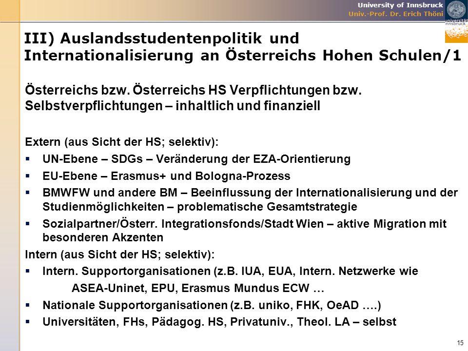 III) Auslandsstudentenpolitik und Internationalisierung an Österreichs Hohen Schulen/1