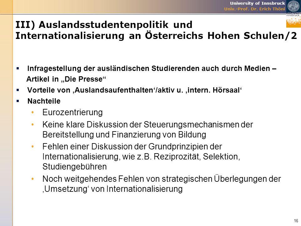 III) Auslandsstudentenpolitik und Internationalisierung an Österreichs Hohen Schulen/2