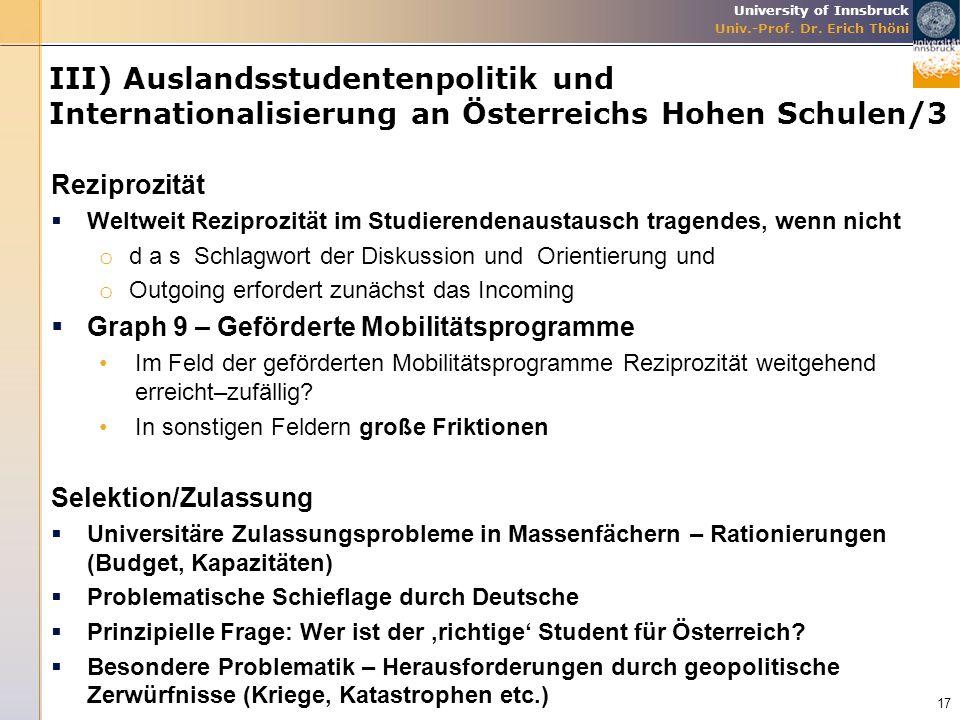 III) Auslandsstudentenpolitik und Internationalisierung an Österreichs Hohen Schulen/3
