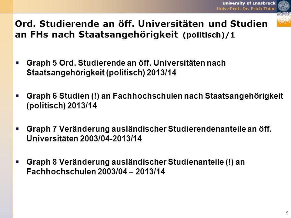 Ord. Studierende an öff. Universitäten und Studien an FHs nach Staatsangehörigkeit (politisch)/1