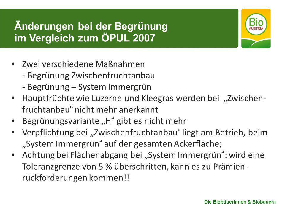 Änderungen bei der Begrünung im Vergleich zum ÖPUL 2007