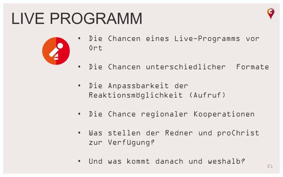 Live programm Die Chancen eines Live-Programms vor Ort