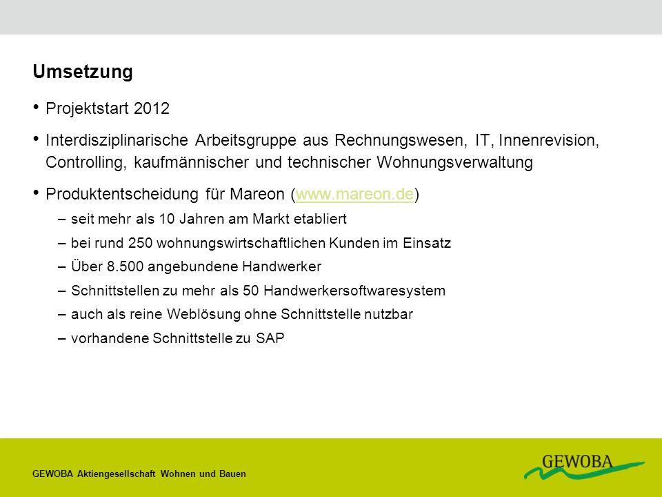 Umsetzung Projektstart 2012