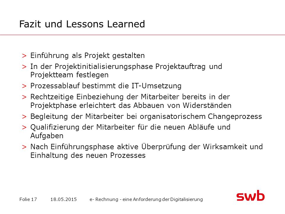 Fazit und Lessons Learned