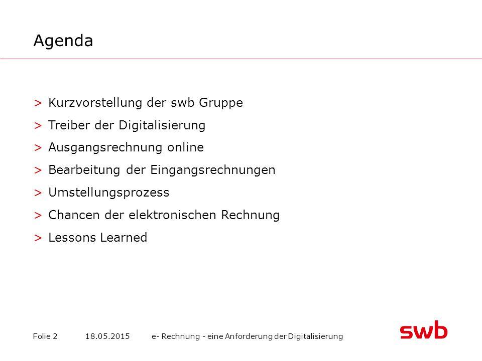Agenda Kurzvorstellung der swb Gruppe Treiber der Digitalisierung