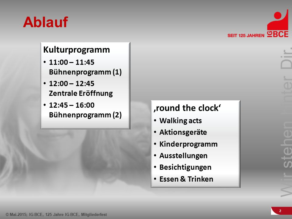 Ablauf Kulturprogramm 'round the clock'
