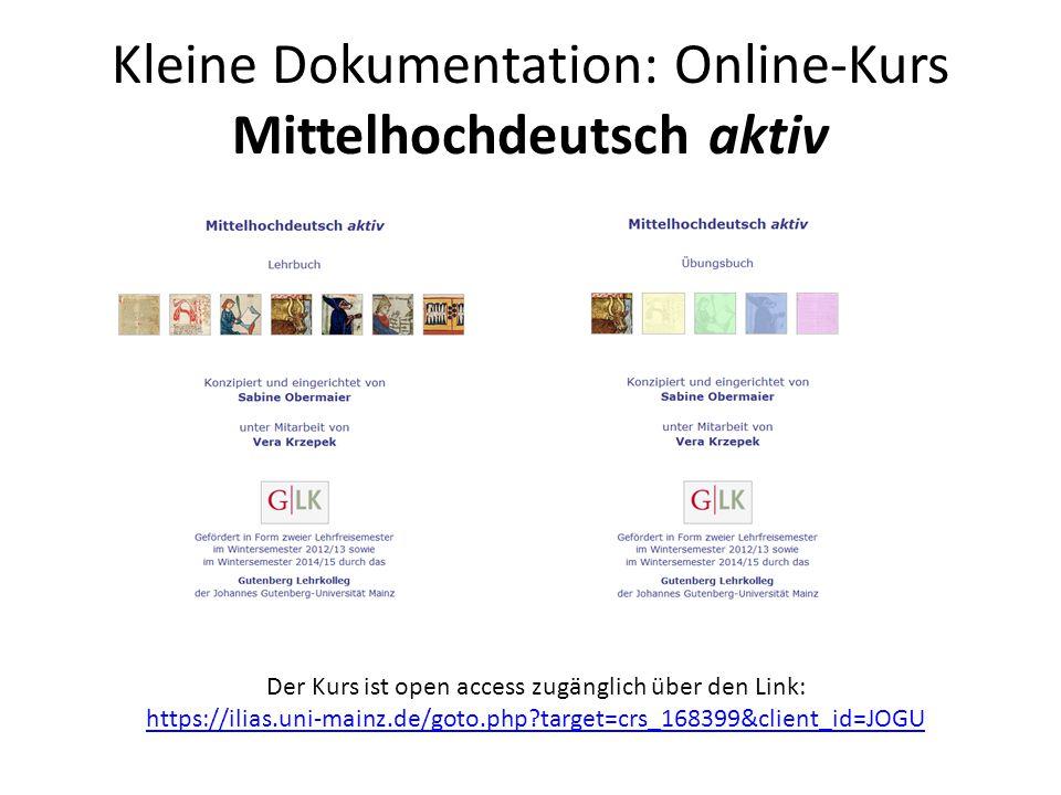 Kleine Dokumentation: Online-Kurs Mittelhochdeutsch aktiv