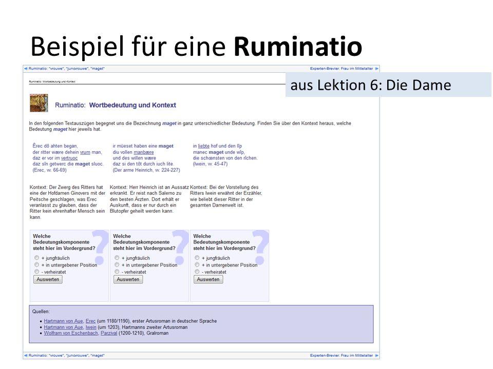Beispiel für eine Ruminatio