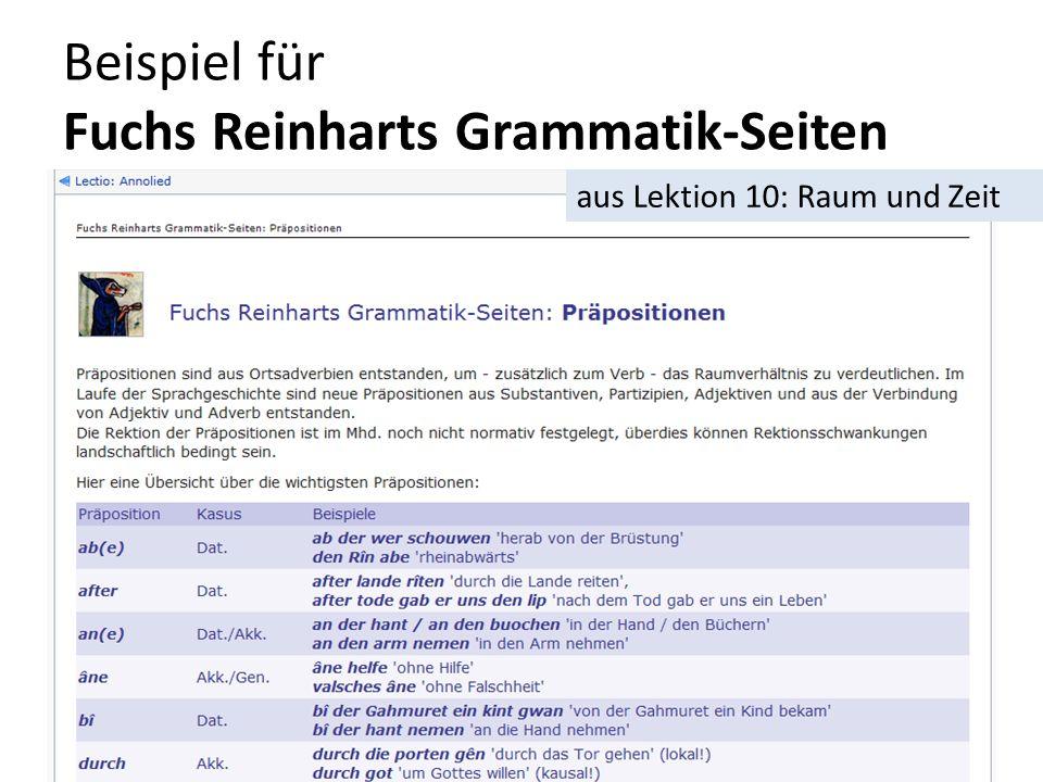 Beispiel für Fuchs Reinharts Grammatik-Seiten