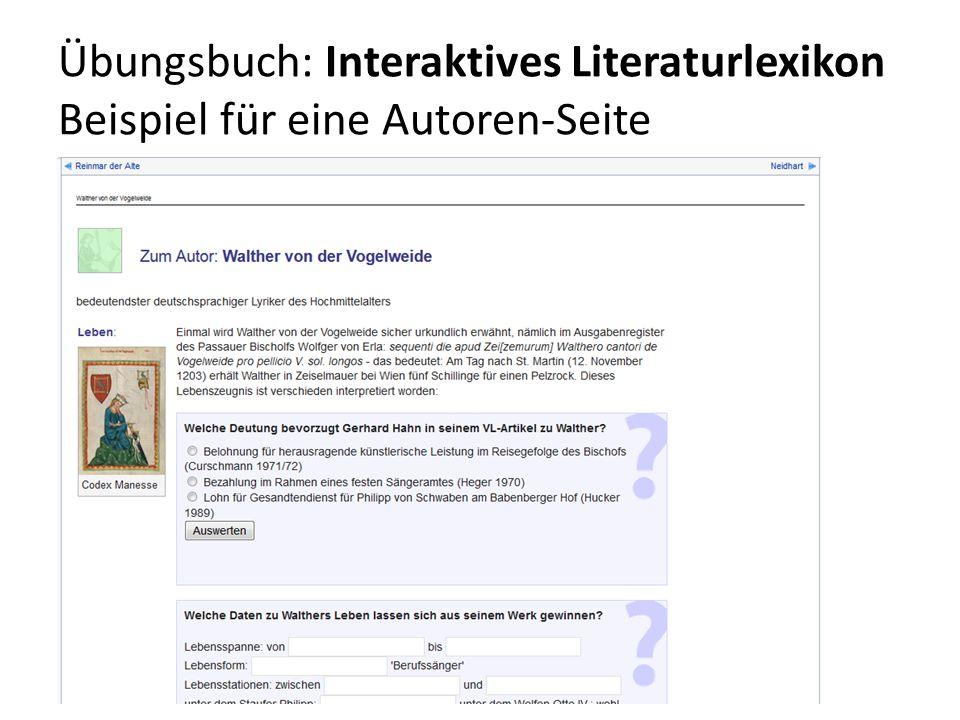 Übungsbuch: Interaktives Literaturlexikon Beispiel für eine Autoren-Seite