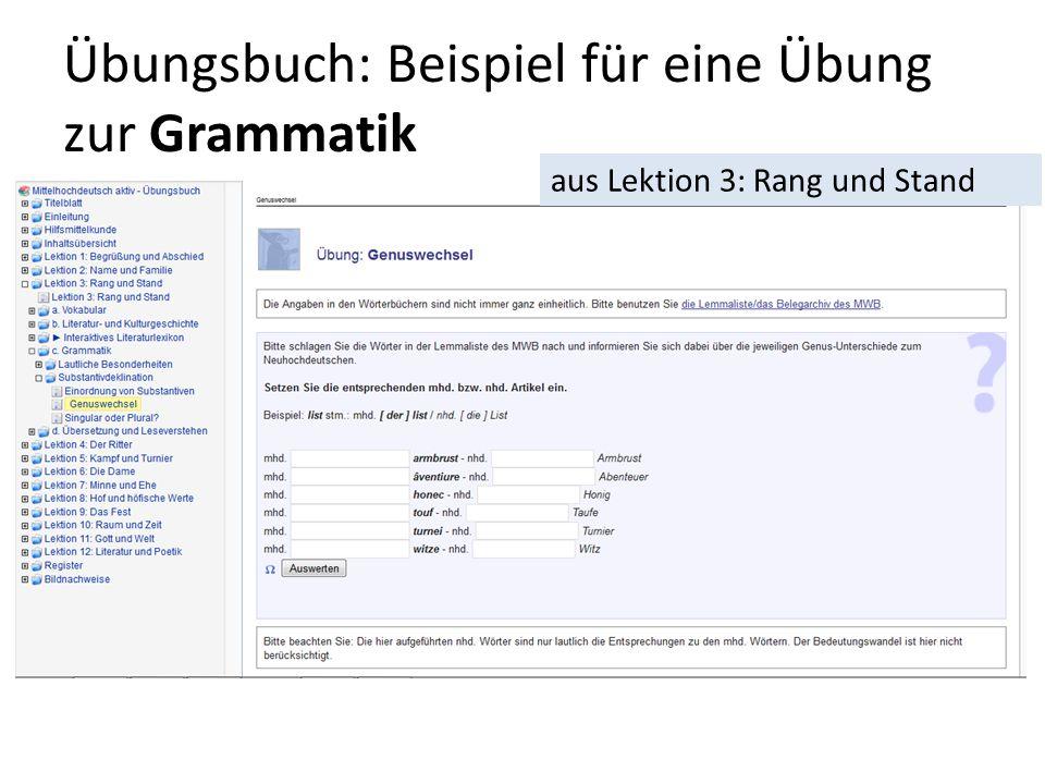 Übungsbuch: Beispiel für eine Übung zur Grammatik