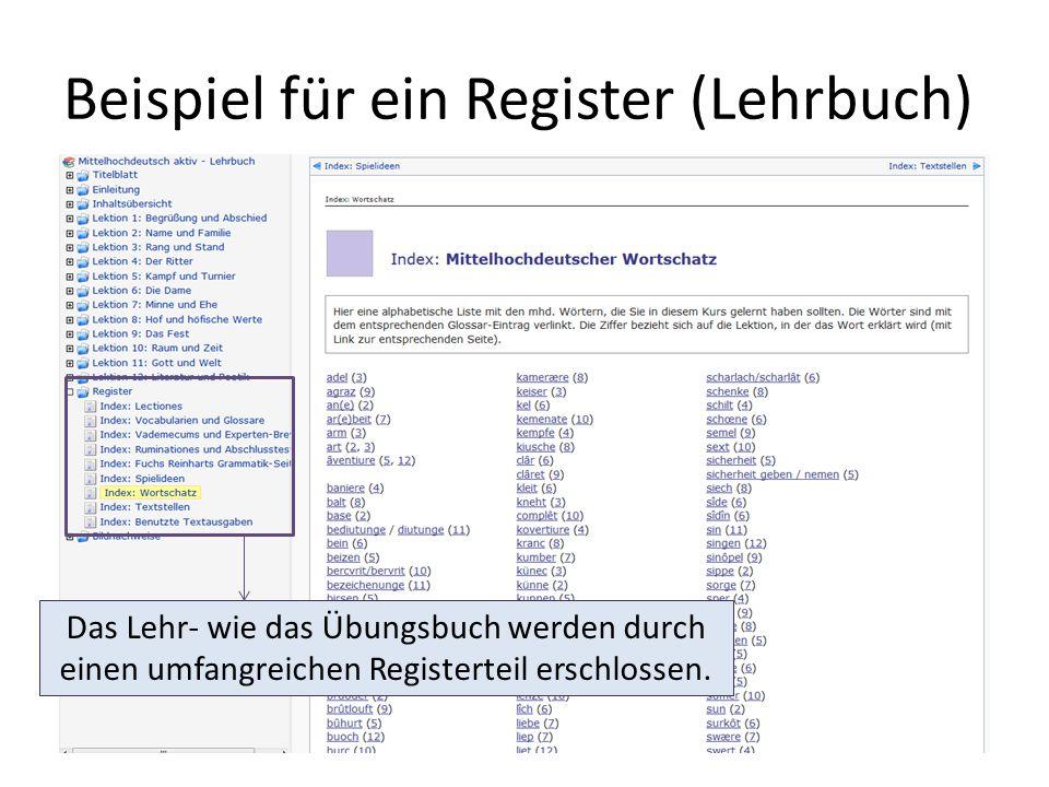 Beispiel für ein Register (Lehrbuch)