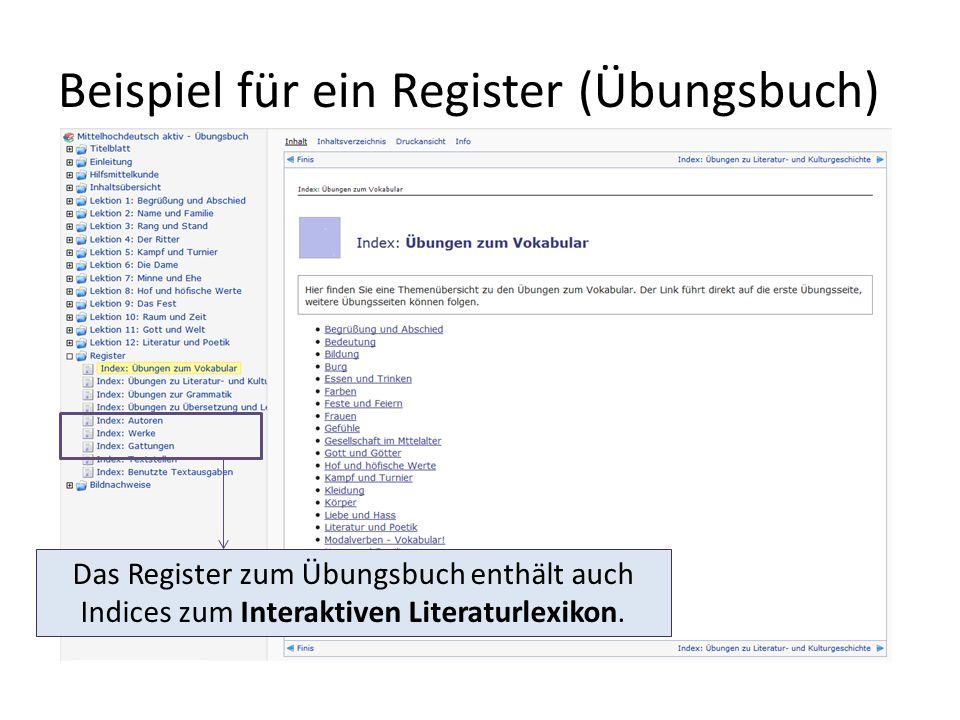 Beispiel für ein Register (Übungsbuch)