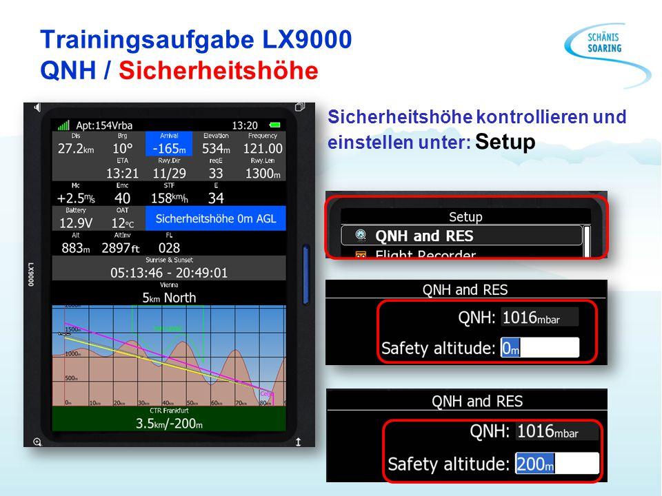 Trainingsaufgabe LX9000 QNH / Sicherheitshöhe