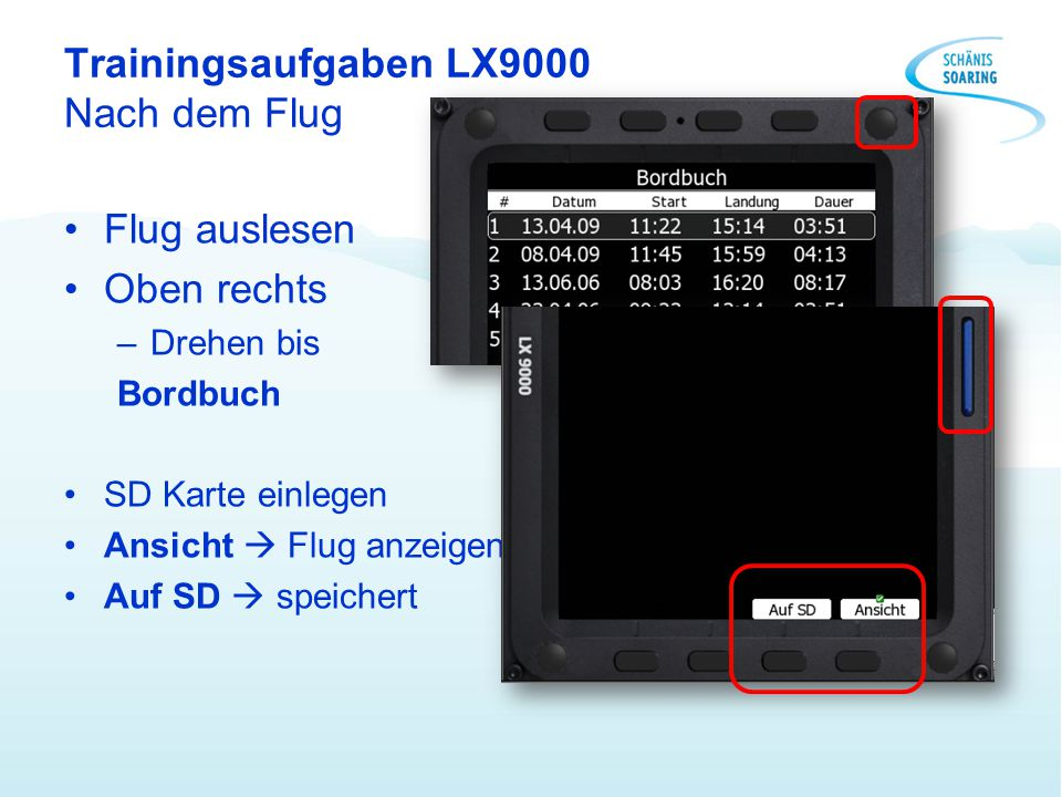 Trainingsaufgaben LX9000 Nach dem Flug