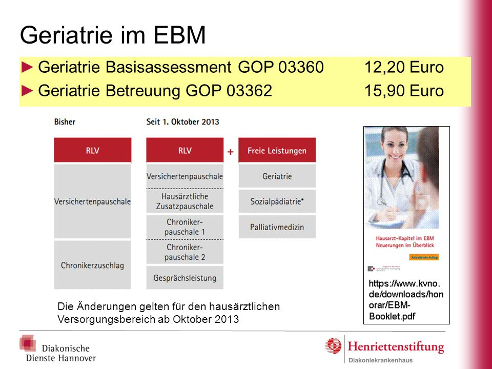 Geriatrie im EBM Geriatrie Basisassessment GOP 03360 12,20 Euro