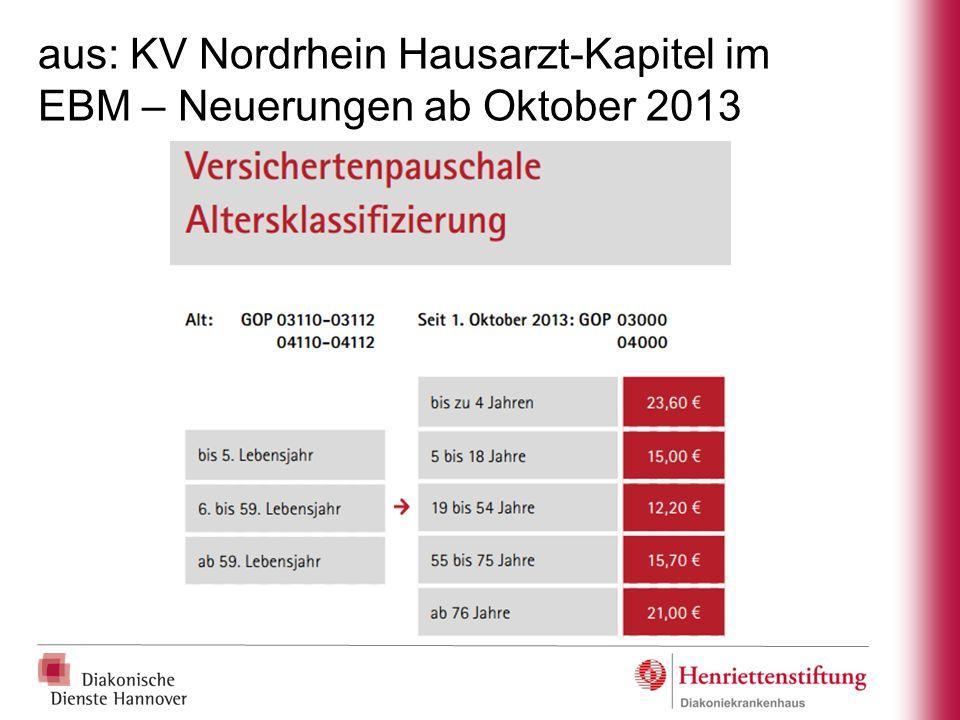 aus: KV Nordrhein Hausarzt-Kapitel im EBM – Neuerungen ab Oktober 2013