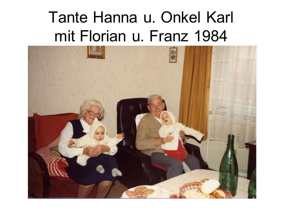 Tante Hanna u. Onkel Karl mit Florian u. Franz 1984