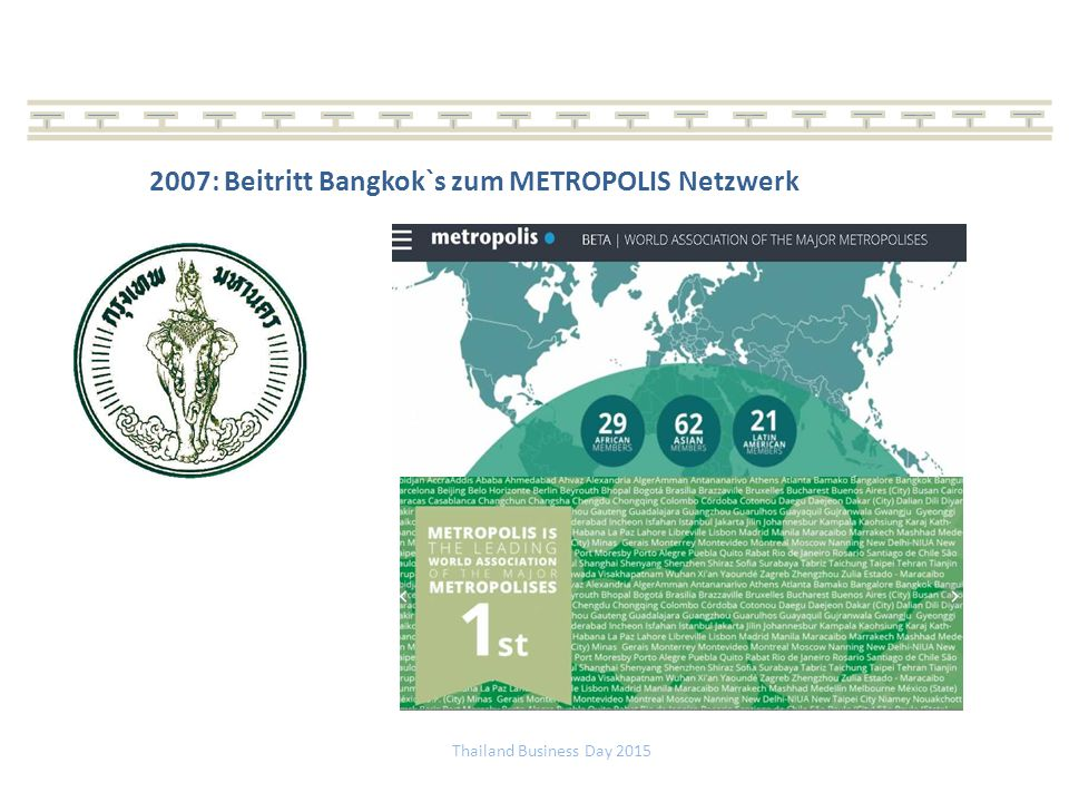 2007: Beitritt Bangkok`s zum METROPOLIS Netzwerk