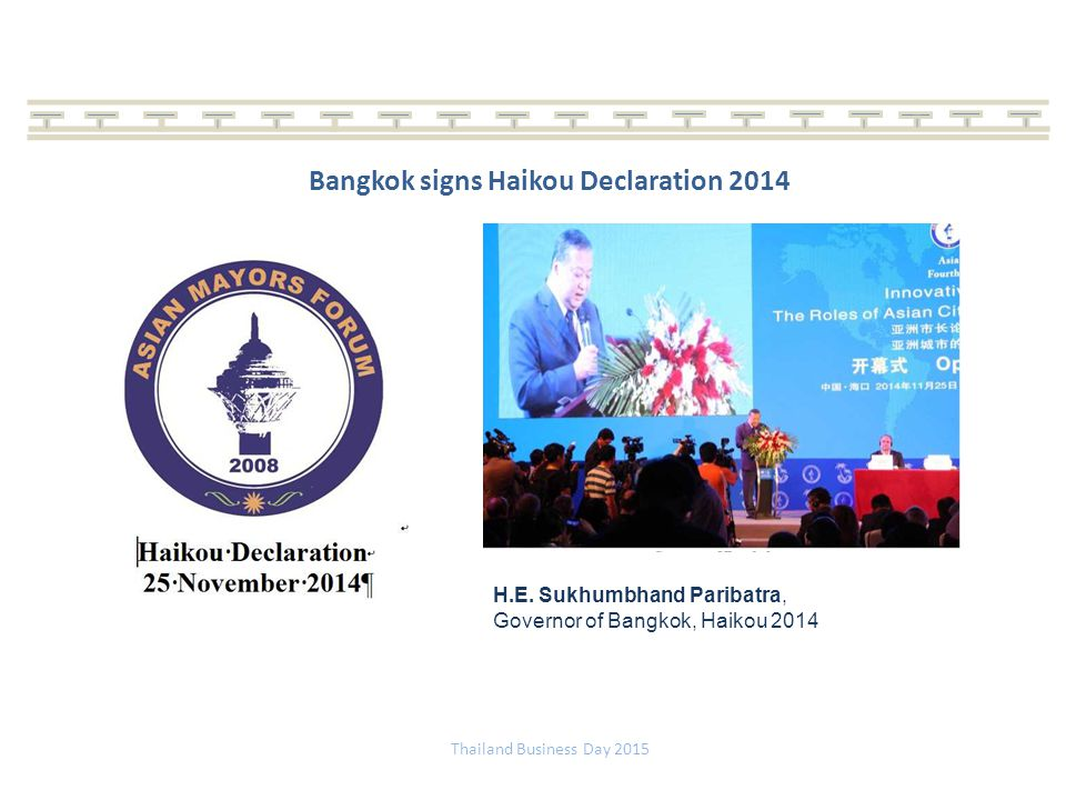 Bangkok signs Haikou Declaration 2014
