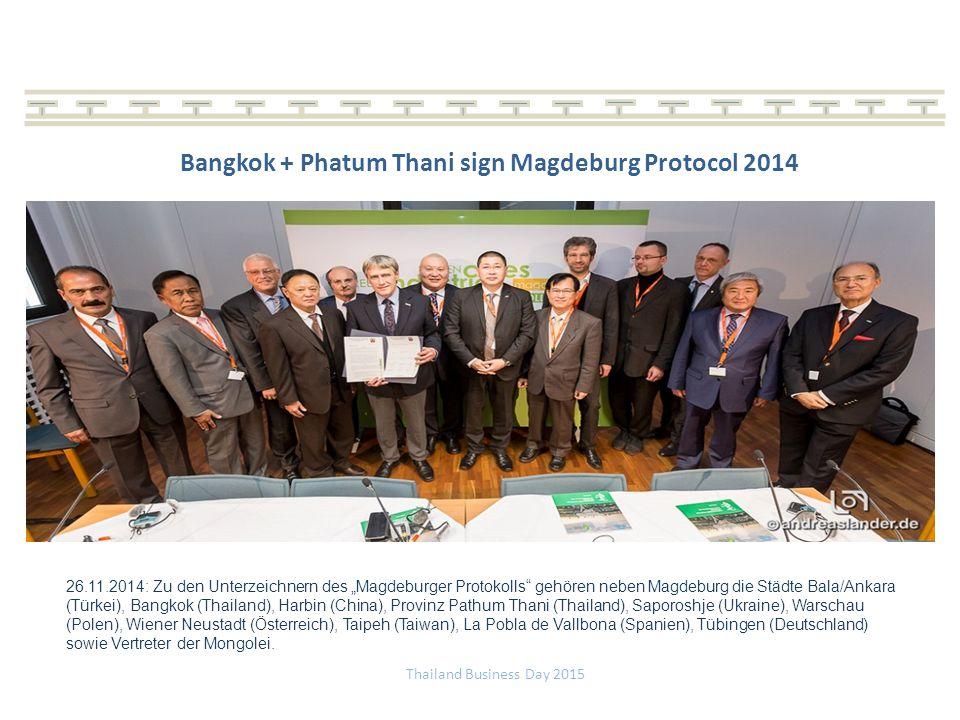 Bangkok + Phatum Thani sign Magdeburg Protocol 2014