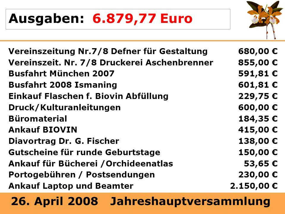 Ausgaben: 6.879,77 Euro Vereinszeitung Nr.7/8 Defner für Gestaltung