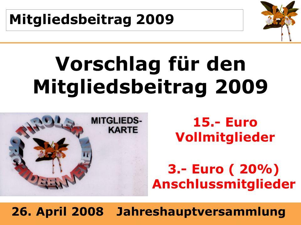 Vorschlag für den Mitgliedsbeitrag 2009