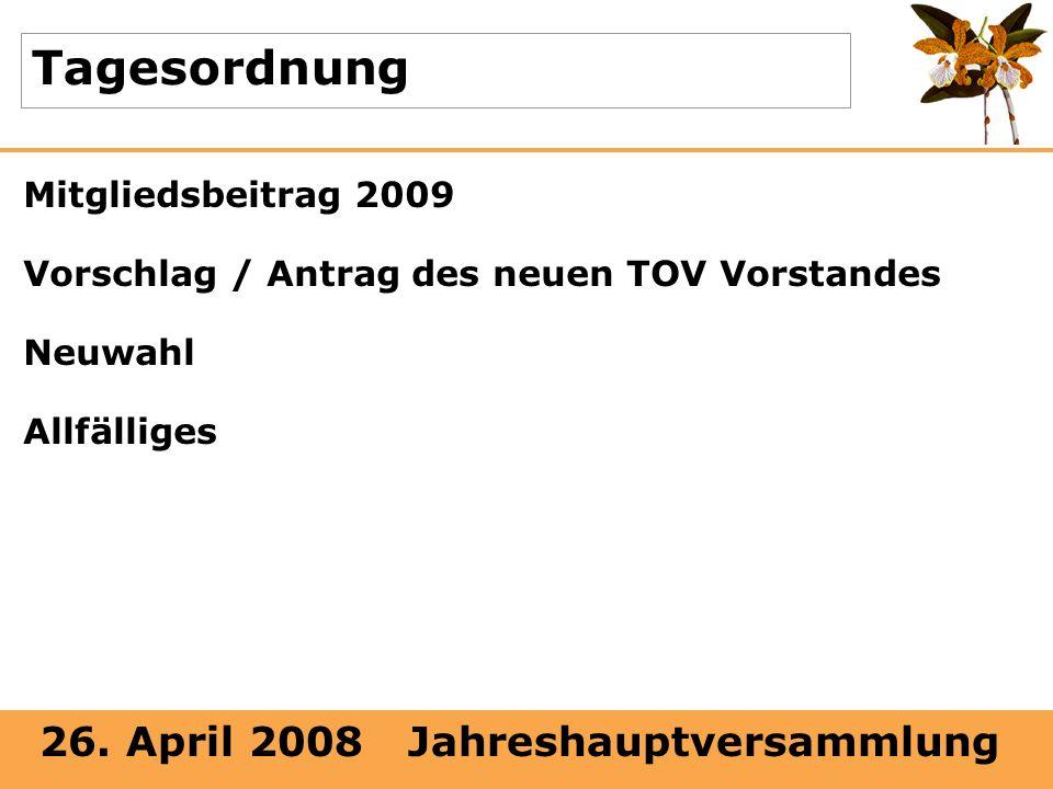 Tagesordnung Mitgliedsbeitrag 2009