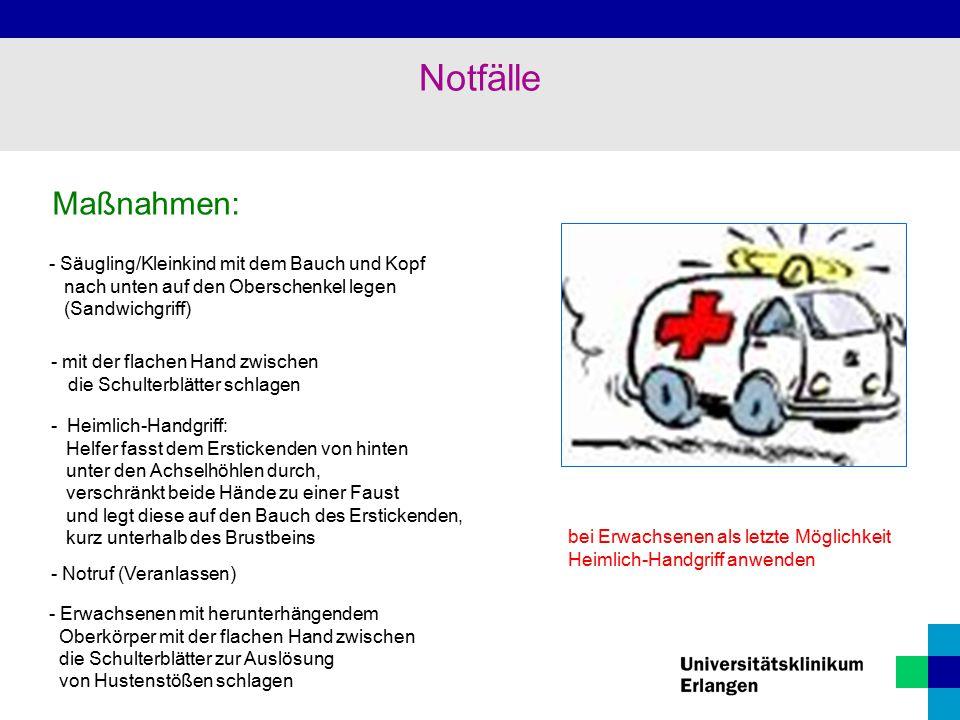 Notfälle Maßnahmen: - Säugling/Kleinkind mit dem Bauch und Kopf