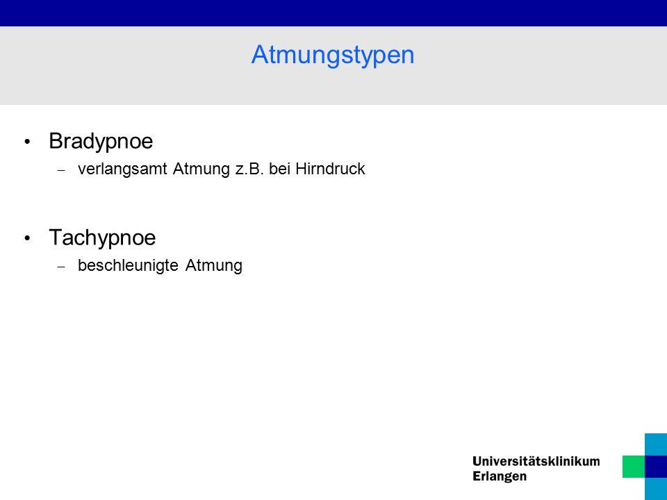 Atmungstypen Bradypnoe Tachypnoe verlangsamt Atmung z.B. bei Hirndruck