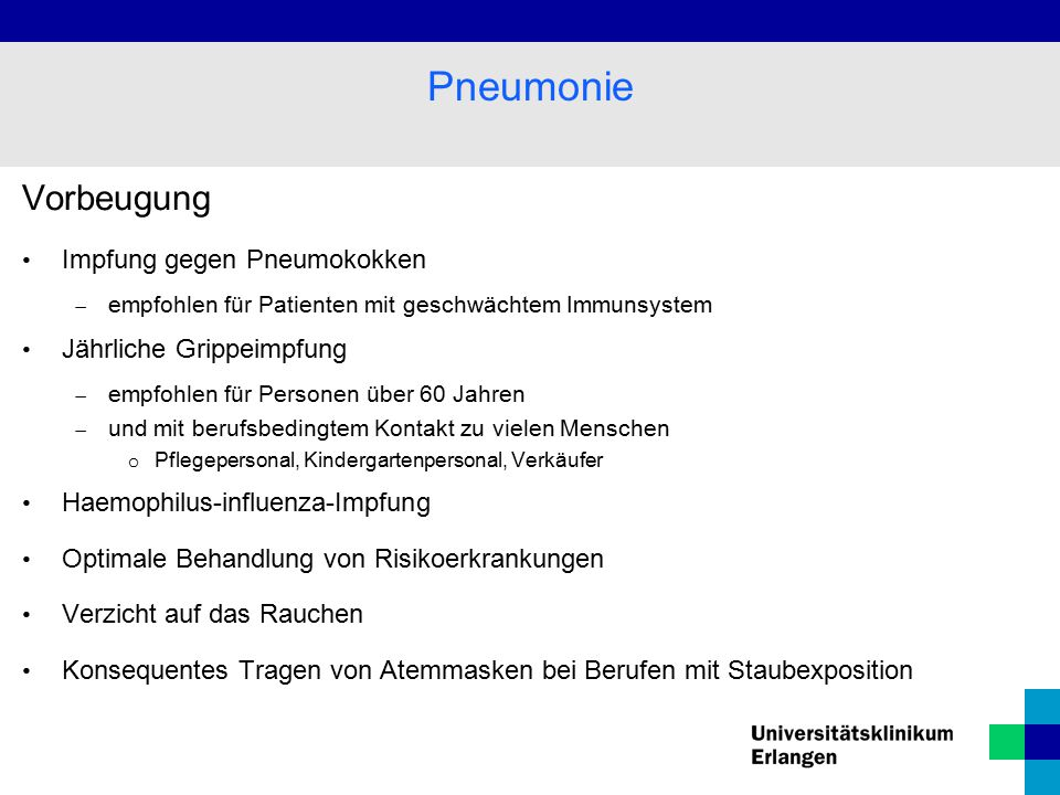 Pneumonie Vorbeugung Impfung gegen Pneumokokken