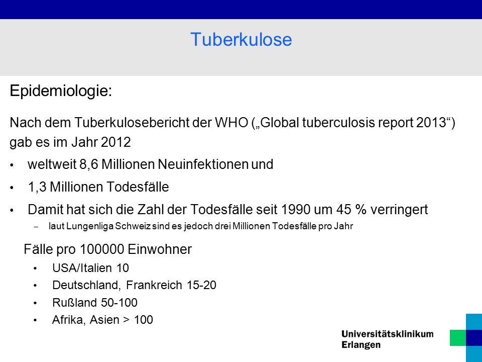 Tuberkulose Epidemiologie: