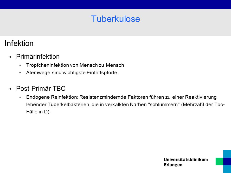 Tuberkulose Infektion Primärinfektion Post-Primär-TBC