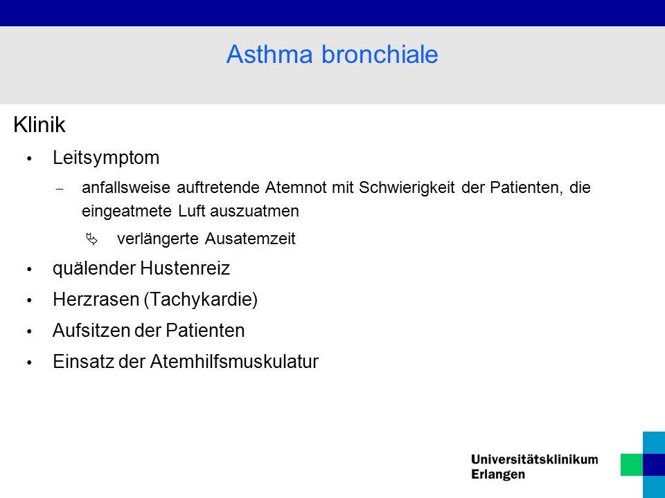 Asthma bronchiale Klinik Leitsymptom quälender Hustenreiz