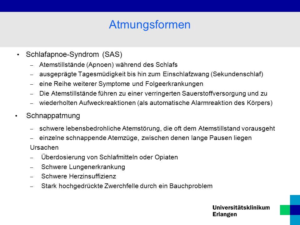 Atmungsformen Schlafapnoe-Syndrom (SAS) Schnappatmung